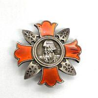 Japanese Red Enamel Sterling Silver Badge Pin Order Medal.