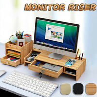 Wood Computer Monitor Riser Desk Table Stand Shelf Desktop Laptop Home Office