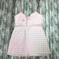 Reformation Gingham Belize Mini Dress with Boe Tie Detail, Pink & White, Size 12
