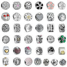 European 925 Sterling Clip on Spacer Silver Charms Bead for Bracelet Chain UK2