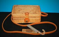 Hand-Woven Rectangle Rattan Bag/ Purse Handmade Wicker Crossbody Leather Strap