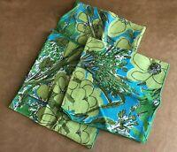 Set of 3 Vera Neumann Cloth Napkins Vintage blue linen scarves by floral green