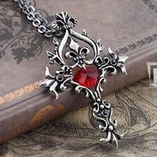 Vintage Vampire Gothic Theme Heart Cross Necklace Chain Pendant Gift UK
