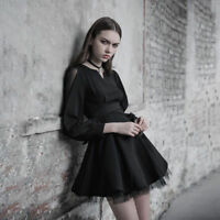 PUNK RAVE New Dark Fashion Ultra-high Belt Black Long Sleeve V Collar Mini Dress
