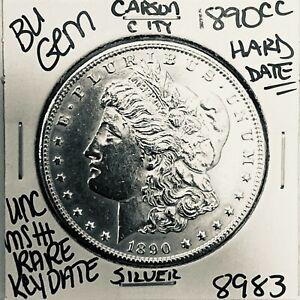 1890 CC BU GEM MORGAN SILVER DOLLAR UNC-MS++U.S. MINT RARE KEY COIN 8983