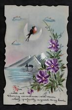 C1916 French plastic card - Bird singing on the moon with mountains & flowers