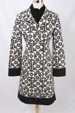 Lilly Pulitzer Size 6 Black & White Floral Pattern Hidden Snap Coat 2921 L61D