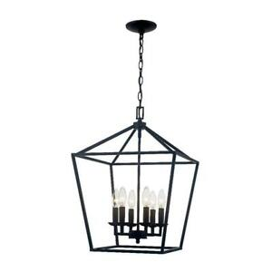 Home Decorators Collection Weyburn 6 Light Caged Chandelier Bronze ORB NEW