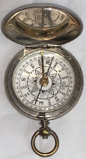 Rare antique original Victorian white metal field pocket watch style compass cha