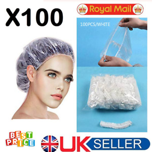 ✅ 100 Disposable Shower Caps Hat Waterproof Clear Hair BEST QUALITY UK SELLER ✅