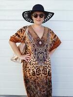 Animal Print Caftan Dress/ Plus Size Maxi Kaftan Dress/ Long Leopard Dress