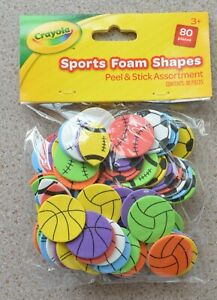 Crayola Peel & Stick Foam Sports Ball Shapes - Assorted Colours - Pack Of 80 NEW