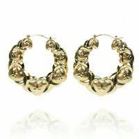 Women Hugs & Kisses XO Hoop Puffy Hollow Earrings Set 18k Filled Gold plated