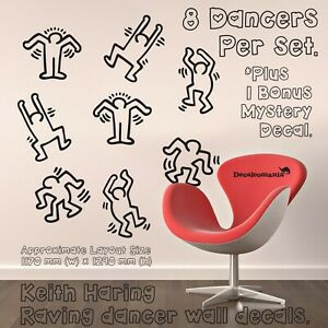 Keith Haring - Dancers - Wall Graphics - Wall Decals - Wall Stickers x 8 Per Set