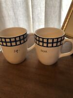 Rae Dunn By Magenta SIP DRINK Ceramic Coffee 2 Mugs 16 Oz Ivory Blue Gingham New