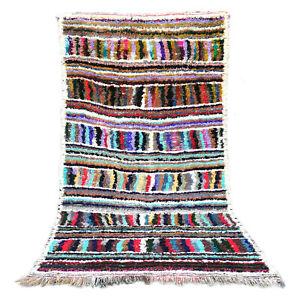 Boucherouite AZILAL runner rug handmade carpet Vintage Moroccan 3.5 FT X 6.5 FT
