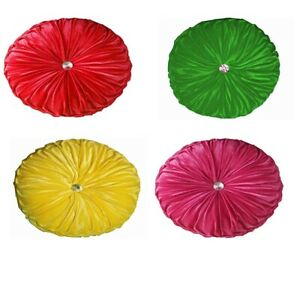 "2 Pcs 18"" Round Velvet Center Crystal Sofa Cushion Designer Home Decor"