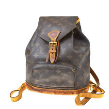 Auth Louis Vuitton Montsouris MM zaino borsa monogram in pelle M51136 81MD450