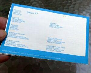 Minolta MD 50mm f2 Lens warranty information booklet 1970's