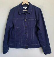Coldwater Creek Blue Jacket White Stitch Design Pockets Buttons Cotton Size 16