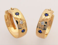 Gold Blue / White / Blue Stone Set Wide Fashion Hoop Earrings by Creola