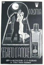 1938 PUBBLICITA PROFUMO COLONIA SEGRETO D'AMORE BORSARI PARMA GRAFICA ILL. MOMI