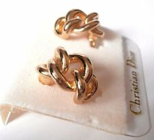 Signed Christian Dior Clip Earrings Gold Plated - Dior Logo