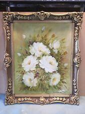 Helen Olsten Cream Roses Framed Oil Painting