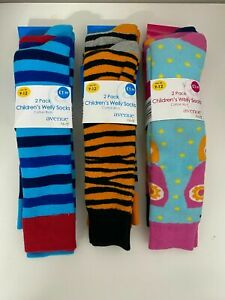 Children's  long Warm (Welly) Socks 2 pack Cotton Rich UK 9-12 New