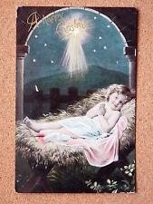 R&L Postcard: Greetings Christmas, Hay Crib Religious Beautiful Design 1908