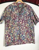 Mutiara Art Bali Men's Batik Cotton Hawaiian Large