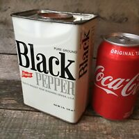 1960 French's Black Pepper Tin HUGE Vintage 1 Lb. RT French Co Rochester NY