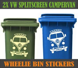 x2 Custom Personalized Wheelie Bin Stickers Vinyl Street Number VW Camper
