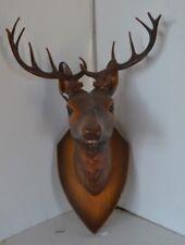Vtg Small Carved Wood Deer Plasttic Antlers Figure Wall #2 Black Forest ?