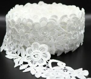 1 Yard Off-White cotton and polyester mix satin thread lace trim.