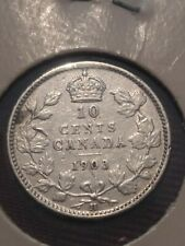 Canada Silver 10 Cents Dime 1903 H variety VF-EF.  lot #2