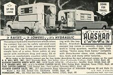 1968 small Print Ad of The Alaskan Camper Pickup Truck Cap it's hydraulic!