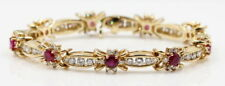 14K YELLOW GOLD 3 CTTW RUBY & 4.68 CTTW DIAMOND TENNIS BRACELET