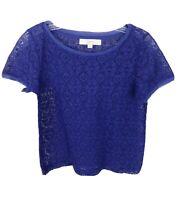 Ann Taylor Loft Sheer Lace Shirt Purple Short Sleeve Scoop Neck Womens Size XXS