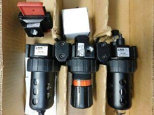 "Parker 1/4"" NPT Port Intermediate 3 Piece Filter-Regulator-Lubricator FRL Unit"