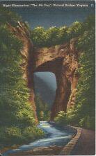 Postcard Virginia Natural Bridge 4th Day Night Illumination Rockbridge Cnty 1950