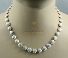 Weiße Süßwasser Perlenkette mit Peridot Halskette für Damen 47,5 cm