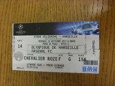 18/09/2013 Ticket: Marseille v Arsenal [Champions League] (folded & worn on fold