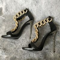 NEW Giuseppe Zanotti Rhinestone Pavé Chain Leather Sandals Black 39 NEW $2500