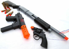 3x Toy Guns Military Police Pump-Action Shotgun Dart KG-9 J & Revolver Cap Guns