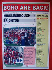 Middlesbrough 1 Brighton 1 - Middlesbrough promoted - 2016 - souvenir print