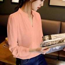 Women Long Sleeve T-Shirt V Neck Loose Casual Blouse Chiffon Summer Tops S-XXL