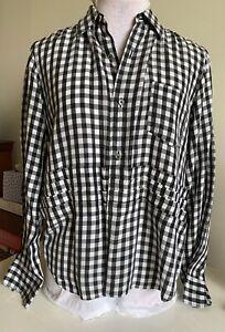COMME DES GARÇONS Black & White Check Cupro Shirt With Pleat Detail- Fits 10