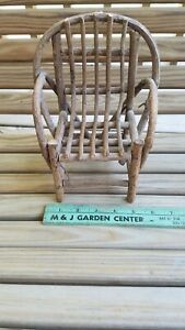 """Vintage Hand Made Miniature Bent Wood Chair Rustic Chair Doll Bear 8.5"""""""