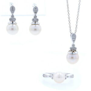 New Cultured Pearl & Diamond Set- Sterling Silver Ring Earrings Pendant Necklace